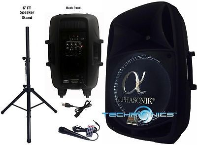 "ALPHASONIK 15"" POWERED 2800W PRO DJ BLUETOOTH USB PA LED MIC USB SPEAKER for sale  Shipping to South Africa"