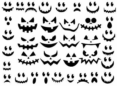 Die Cut Outs Silhouette Halloween scary pumpkin faces 37 set, for fairy jars (Halloween Silhouettes For Pumpkins)