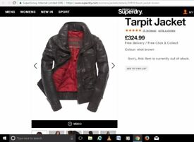 Leather Superdry Tarpit Jacket L LARGE 14 women's LADIES LIMITED EDITION £324.99 Brad m 12
