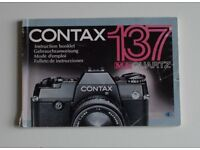 35mm Camera user manuals - originals - Contax Yashica and others. Various prices.