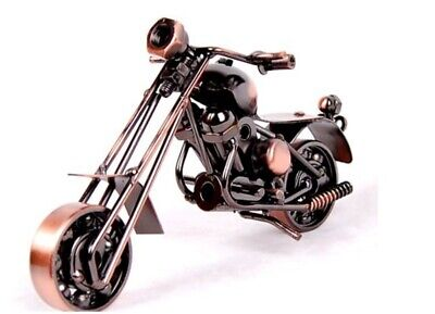 Custom Home Office (Bronze Metal Rustic Custom Motorcycle Model Home Office Desk Table Decor)