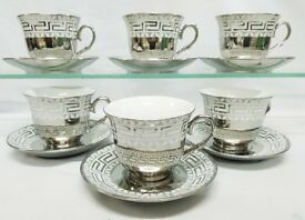 12PC TEA/COFFEE SET , GOLD OR SILVER DESIGN