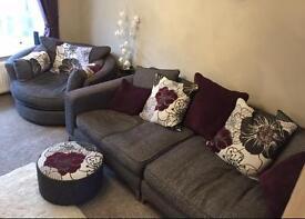 Sofaology large sofa+swivel cuddlier and. 3 footstools