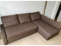 FREE DELIVERY IKEA FRIHETEN BROWN L-SHAPED CORNER SOFA BED WITH STORAGE GREAT CONDITION