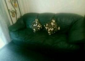 Green real leather 3 seater sofa
