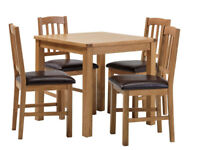 Ashwell Oak Veneer Table & 4 Slatted Chairs