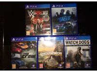**PS4 games** (Need for speed) (Tom Clancy ghost recon) (The crew) (WWE2k16) (Watchdogs)