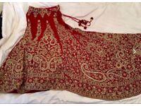 Bridal red velvet lengha size 6-8 with trail