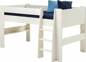 Steens Kids Mid-Sleeper Frame Bed with Ladder, White , still in box