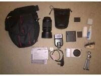 SAMSUNG NX 1000 20.3Mp Digital Camera 50-200mm IOS Lens Kit Bundle w Hama Bag Tripod And 2 Batteries