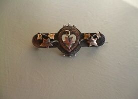 Antique Rose Gold, Silver And Diamond Sweetheart Brooch
