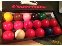 Snooker Balls set (1 missing) Powerglide, in box, size 1 7/8ths