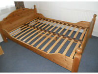 Sturdy Pine Double Bed Frame with 200cm x 140cm Metal Framed Slat Support Section
