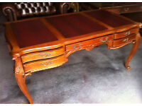 Louis XV style flame mahogany leather inlaid desk