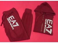 Wine Red & White Full Cotton Tracksuit