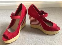 *New* Red & White Dorothy Perkins wedges