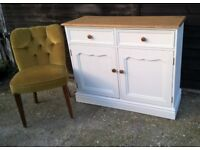 Solid Pine Farmhouse Sideboard Vintage White *FREE DELIVERY* Shabby Chic (not welsh dresser oak)