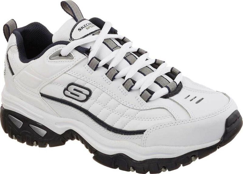 Skechers Energy After Burn Sneaker  in White / Navy Leather