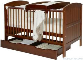This Hayworth Cot bed in walnut comes with underbed storage and changing extension.