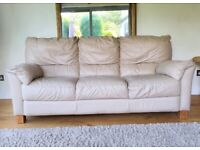 Genuine leather cream 3 seater sofa DELIVERY INCLUDED