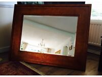 Large solid wood beveled wall mirror