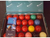 Aramith Permier Snooker Balls Full Size Used only once - Bargain