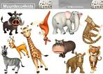 Jungle muurstickers Dieren Safari, giraffe, olifant, tijger