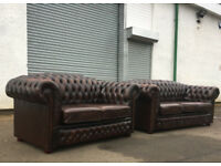 3+2 Brown leather chesterfield sofas VGC DELIVERY AVAILABLE