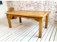 Square Leg Extendable Modern Rustic Farmhouse Dining Table - Choice of Finish Contemporary