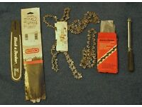 4 new 10 inch chainsaw chains with two speare blades and other accessories including a sharpener.