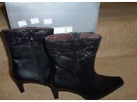 Soft Leather Ankle Boots - Black Size 5 **New in Box**