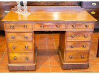 Solid Mahogany Pedestal Desk 19C Antique Victorian Writing Table Drawers Castors