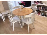 Beautiful farmhouse shabby chic style table and chair set