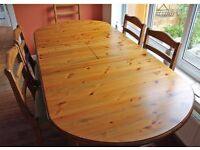 Ducal Pine Dining Table and Six Chairs