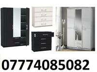 3 DOOR MIRRORS WARDROBE with 2 draw 4 DRAWER CHEST BLACK AND WHITE