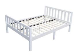 Double Wooden Bed Frame - Solid Pine; in White. Boxed, NEW!