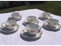 "Set of 6 pretty ""flower"" design coffee cups"