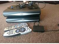 2 SKY PLUS HD BOXES, REMOTE CONTROLS + MINI WIRELESS CONNECTOR