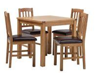 Ashwell Oak Veneer Table & 4 Slatted Chairs