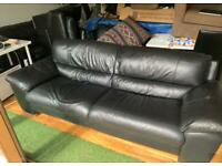 Quality black leather sofa and chair