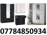3 DOOR WARDROBE with 2 draw 4 DRAWER CHEST black and white