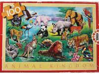 Children's 100 Piece Animal Kingdom Jigsaw Puzzle - 60 x 43 cm