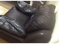 3 Black leather sofas