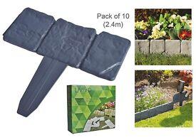 LIVIVO ® 6 x Packs of 10 Instant Fit Interlocking Cobbled Stone Effect Garden Edging £25