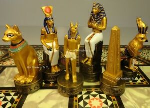 Egyptian Chess Men Set Gold & Buff Color - NO BOARD egypt