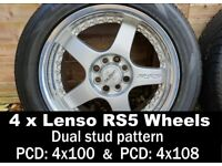 """Lenso RS5 16"""" wheels. 4x100 PCD VW ? and 4x108 PCD Ford with 205/50/16 tyres"""