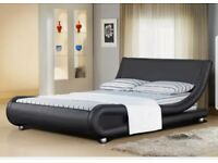 """Beautiful and modern Italian Designer Faux Leather Double Black Bed Frame. Condition is """"Used""""."""