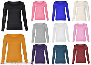 Womens-Long-Sleeve-Stretch-Plain-Round-Scoop-Neck-T-Shirt-Top-8-14