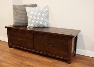 Stylish Solid Reclaimed Wood Bench With Drawers & More Customizable Furniture by LIKEN Woodworks!