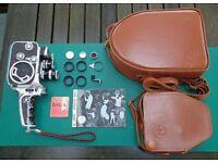 Bolex Paillard B-8LA, 8mm Cine camera (serviced), two lenses, cases, strap & accessories.